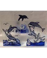 Fyrfadsstage med delfiner