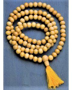 Mala kæde 108 perler - lyst træ