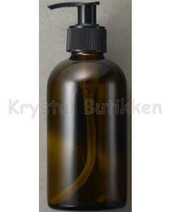 Brun glasflaske med pumpe 250 ml.