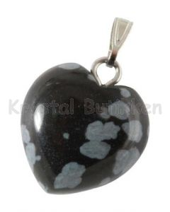 Hjerte-vedhæng- snefnugs-obsidian