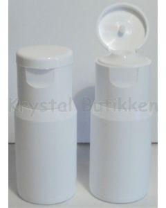 Plastflaske blød - hvid med vippelåg - 25 ml.