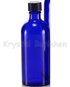 Blå glasflaske 100 ml.