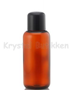Brun plastflaske - indsats med hul - 100 ml.
