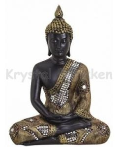 Buddha i sort og guldlook