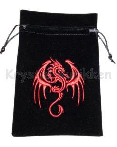 Stofpose i fløjl - Rød Drage