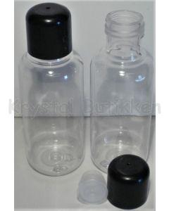 Klar plastflaske - indsats med hul - sort låg - 100 ml.